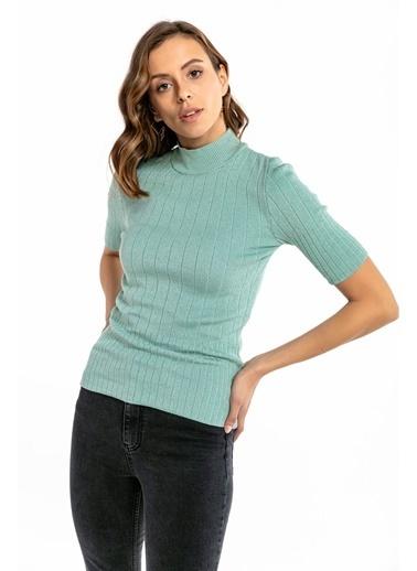 Tiffany&Tomato Yarım Balıkçı Yaka Kısa Kollu Triko Bluz - Vizon Yeşil
